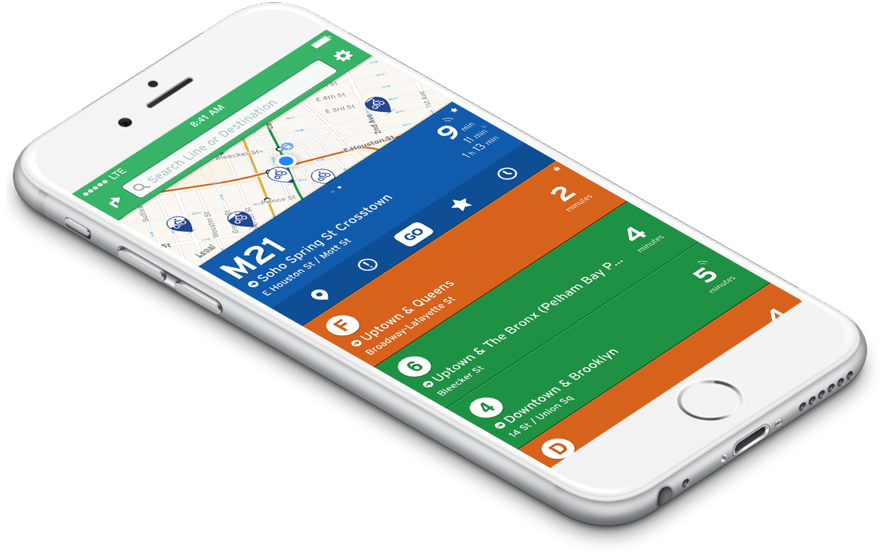 Example of Transit app on an iphone from the transit webpage